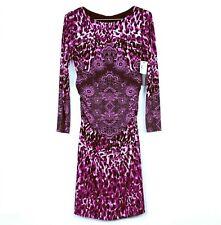 NEW David Meister Sz 10 Sheath Dress Pink Black Stretch Ruched Long Sleeve