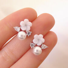 925 Sterling Silver White Sea Shell Pearl Flower CZ Bridal Post Stud Earrings