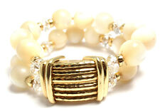Rare! Authentic Andrew Clunn 18k Yellow Gold Mother Of Pearl Bead Bracelet