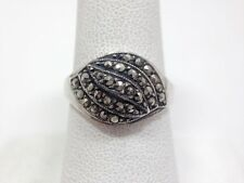 Vintage Retro Marcasite Hematite Small Dome Ring 8 Sterling Silver FMGE 925