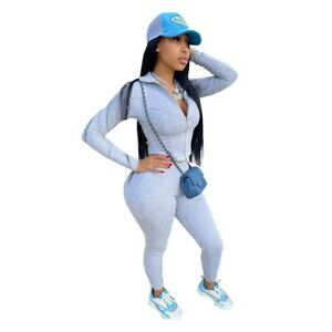 New Women Fashion Long Sleeves Zipper Patchwork Skinny Solid Sporty Outfits 2pcs