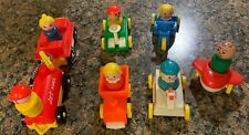 Vintage Fisher Price Little People Cars Truck Tractor Gas Pump Lot