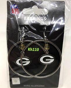 NFL Green Bay Packers Hoop Earrings with Crystal Bead Dangle