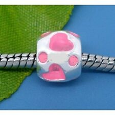 European Style Charm Bead -pink hearts Buy 15 get a FREE BRACELET !