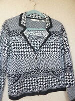 Coldwater Creek Black & White Patterned Cardigan Sweater  PM