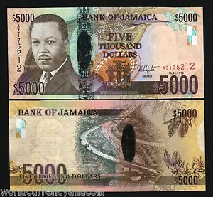 JAMAICA 5000 5,000 DOLLARS NEW 2010 POLYMER HYBRID BIRD CAR UNC MONEY BANK NOTE