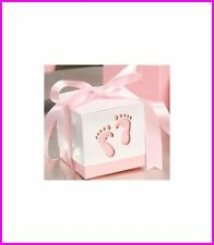 12 Pink Tiny Feet Favor Boxes  - Set of 12 - Baby Feet with Ribbon