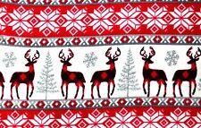 "CHRISTMAS CHECKED DEER, GREY SNOWFLAKES & TREES FLEECE MATERIAL 2 YDS 60X72"""