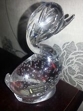 """WHITEFRIARS GLASS CLEAR DILLY DUCK PAPERWEIGHT WITH LABEL 5.5"""" TALL IN VGC"""