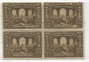 Canada KGV 1917 3 cents Confederation block of 4 mint no gum