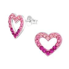 Children's Silver Open Hearts Ear Studs — AUS Postage — Sterling 925 Earrings