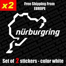 Set of 2 x Nurburgring Vinyl Sticker Aufkleber - Black/White, Die-Cut, car, JDM