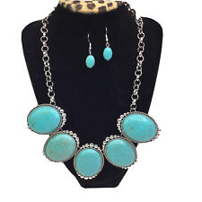 PAPARAZZI Jewelry Necklace Earrings Set Turquoise Stone Silver