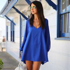 Women Cold Shoulder Chiffon Dress Plus Size Tops Shirt Blouse Short Mini Dresses