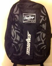 Rawlings Savage Backpack Black Gray Tribal Design Sports Equipment Bag Pocket
