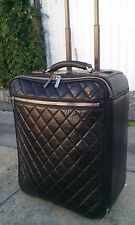 Chanel Quilted Antiqued Black Leather Trolley Tote Carry On Bag Rolling Suitcase