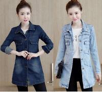 Women's Casual Cowboy Denim Jacket Long Sleeve Coat Jeans Outerwear Trench Plus