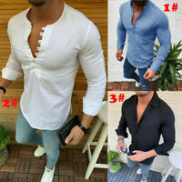 Men's Linen Long Sleeve Shirt Summer Cool Slim Casual V-Neck Shirts Tops M-3XL