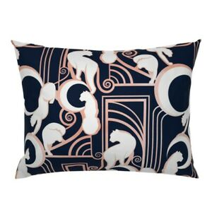 Art Nouveau Architectural Navy Blue Panther Art Deco Pillow Sham by Roostery
