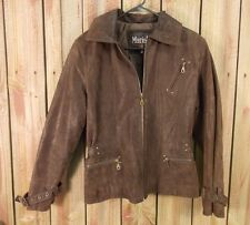 Mariah Leather Jacket Coat  Brown Full Zip Cinched Waist Women's Size Medium
