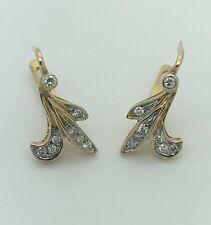 HANDMADE RUSSIAN STYLE 14K WHITE / YELLOW GOLD DIAMOND ADULT CHILDREN'S EARRINGS