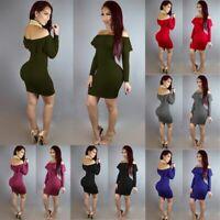 Women Off Shoulder Sexy Bodycon Mini Dress Ladies Short Sleeve Slim Fit Dress