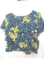 Zara Navy Blue Color Floral Print Short Sleeve Blouse Size L