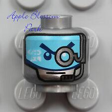NEW Lego ROBOT ZANE MINIFIG HEAD - Ninjago Ninja Cyborg Silver Blue Eyes Mask