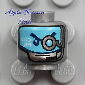 NEW Lego ROBOT ZANE MINIFIG HEAD Ninjago Ninja Cyborg Silver Gray Blue Eyes Mask