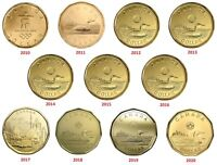 🇨🇦 Canada set 11 Loonie coins $1 One Dollar, years from 2010 to 2020