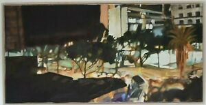 Photorealistisches Werk Metropole mit Palmen 123x63cm ORIGINAL signiert KOPP '13