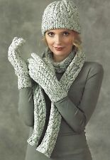 LADIES HAT SCARVES & GLOVES KNITTING PATTERN DOUBLE KNIT    (1285)