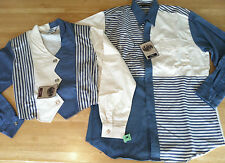 1990s Roper Mens L Womens M Matching Western Shirts Blue Natural USA Made