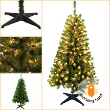 ARTIFICIAL CHRISTMAS TREE 5 Ft Xmas Holiday Indoor Wood Trail Pine Pre Lit Deco