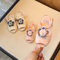 Girls Peep Toe Bridesmaid Princess Sandal Kids Pearls Flower Wedding Party Shoes