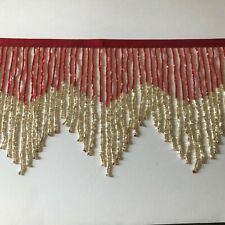 "By the Yard-6"" Red/Gold Glass BUGLE Bead Beaded Fringe CHEVRON Lamp Costume Trim"
