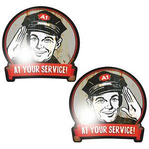 2x AT YOUR SERVICE Aufkleber Sticker Oldschool Retro Hotrod Rockabilly Nostalgie