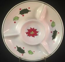 Poinsettia Flower Holly Leaves Berries Divided Plate Ceramic Candy Serving Dish