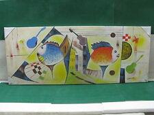 """Lotto 2 - QUADRO  olio su tela con particolari in rilievo """"Pesci""""  128 x 52"""