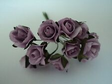 PACK 12 LILAC MULBERRY PAPER ROSES EMBELLISHMENT FOR CARDS/CRAFT