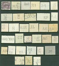 Czechoslovakia - Thirty two (32) Perfin Stamps all Different Patterns