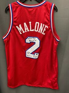 1982-83 76ers NBA Champs 5x Multi Signed Moses Malone Jersey Sz L LEAF COA