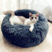 Bed Cat Dog Pet Round Calming Soft Plush Nest Sleeping Warm Comfy Flufy Bag Us S