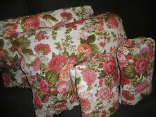 WAVERLY RED SITTING PRETTY PINK GRAY FLORAL CREAM (4PC) FULL SHEET SET