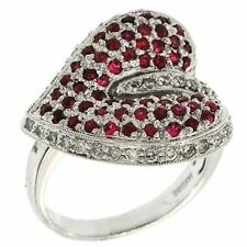 Unusual Hart Shaped Genuine Diamond & Ruby Ring 14K Gold