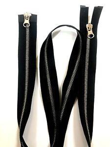 3 inch to 39.5inch TWO WAY OPEN END Black Metal SILVER TEETH ZIp Coat Jacket