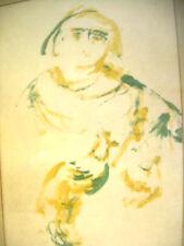 Santos Saint Monk w Dove Antique Minimalist PAINTING on Paper man rooster robes