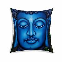 Buddha Digital Print Cushion Cover Blue Throw Decorative Pillow Case Cover