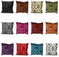 DECORATIVE CUSHION COVER, CASES FLOCK VELVET SILK PRINT BOTH SIDES 43CM X 43CM