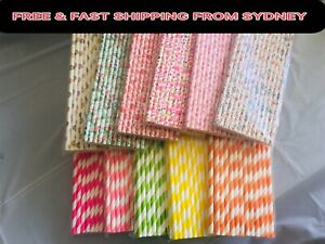 11Color 25X Paper Straws Disposable Reusable Drink Wedding Birthday Party Brunch